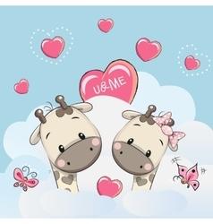 Cute Lovers Giraffes vector