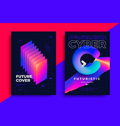 Cyber futuristic posters with gradient color shape vector