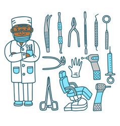 Dentist with dental instruments in doodle style vector