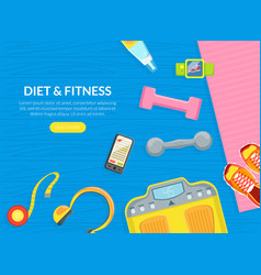 diet and fitness landing page templates set vector image