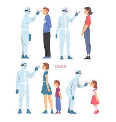 doctors measuring temperature people vector image