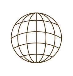 Earth globe with parallels and meridians isolated vector