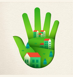 Eco friendly city in green paper cut hand vector