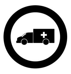 emergency car icon black color in circle vector image