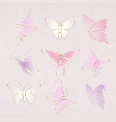 Flying butterfly sticker pink gradient line art vector