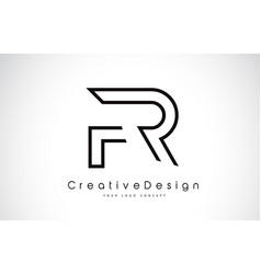 Fr f r letter logo design in black colors vector