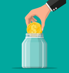 glass money jar with gold coin vector image