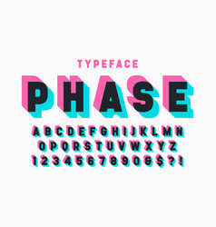 Glitched display font design alphabet typeface vector