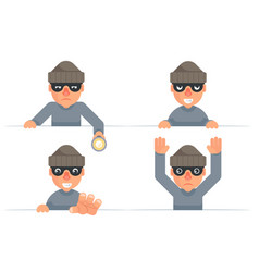 Greedily evil thief grabbing hand flashlight vector