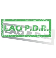 Green outlined Lao PDR stamp vector