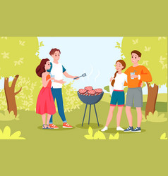 happy couple people at outdoors barbecue picnic vector image