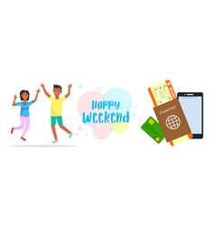 happy weekend horizontal banner with lettering vector image