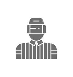Hockey judge referee arbiter gray icon vector