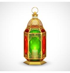Illuminated lamp on eid mubarak happy eid vector