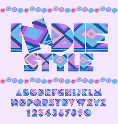 Indie style ethnic pattern bright alphabet vector