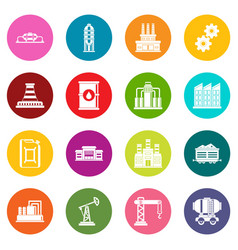 industry icons many colors set vector image
