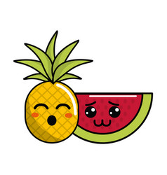 kawaii funny pineapple and shy watermelon icon vector image
