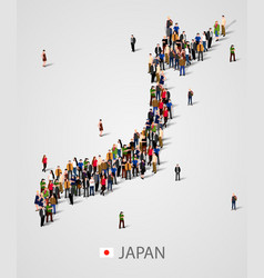 Large group of people in japan map form vector
