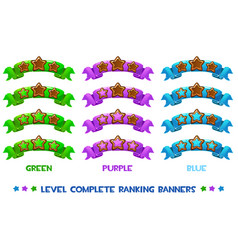 Level complete ranking banners with wood vector