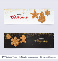 Light and dark banners with gingerbread cookies vector