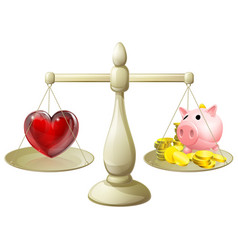 Love or money balance concept vector