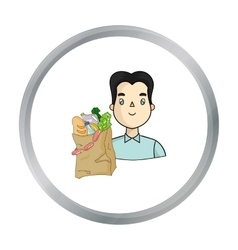 Man carrying grocery paper bag full of food icon vector