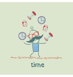 Man juggles clocks vector