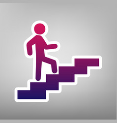 man on stairs going up purple gradient vector image