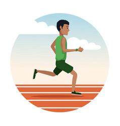 man running on track round icon vector image