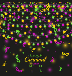 mardi gras carnival background with light lamps vector image