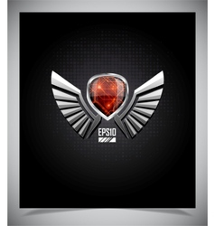 Metal Shield emblem with wings vector image