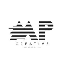 mp m p zebra letter logo design with black and vector image