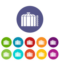 oil storage tank icons set color vector image