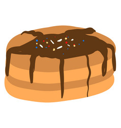 pancake with chocolate on white background vector image