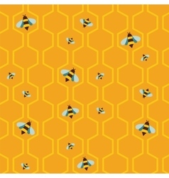 Pattern of the bee on honeycombs background vector