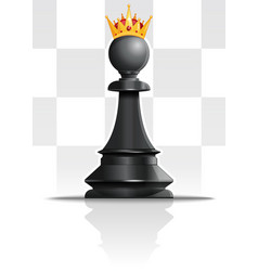 Pawn in golden crown chess concept design vector
