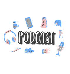 Podcast lettering with decoration design vector