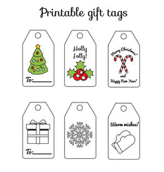 Printable christmas and new year gift tags winter vector