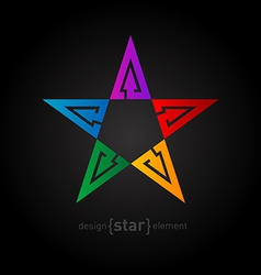 Rainbow star Abstract design element with arrows vector