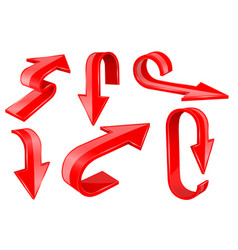 red bold arrows 3d shiny signs vector image