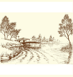 river flow and a small old fishery on shore vector image