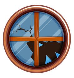 round window with broken glass vector image