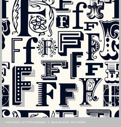 seamless vintage pattern letter F vector image