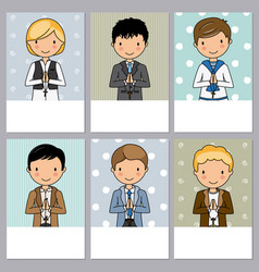 Set 6 first communion boy cards vector