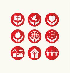 Set christian logos and biblical symbols vector