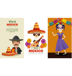 set day of the dead celebration with mariachi and vector image