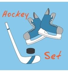 Set icon of hockey equipment icons - skates stick vector image