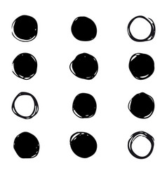 set of drawn ink stain abstract circle vector image