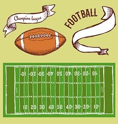 Sketch football set vector image