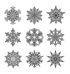 snowflakes and mandala collection vector image